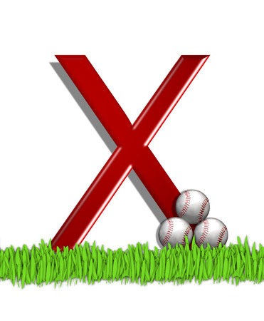 The letter X, in the alphabet set Baseball, is red.  Three baseballs decorate 3D letter.  All sit in a field of green grass. Stock Photo