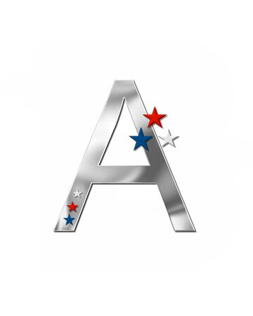 metalic: The letter A, in the alphabet set Plain Patriotism is silver metalic.  Three stars decorate letter with red, white and blue.  Letters coordinate with Alphabet Patriotism.