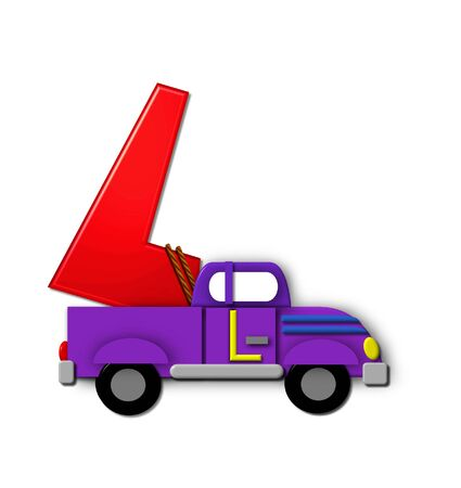 The letter L, in the alphabet set Alphabet On the Go is tied with rope to transportation vehicles in different colors, shapes and sizes.  Letter is 3D, red and ready to GO!