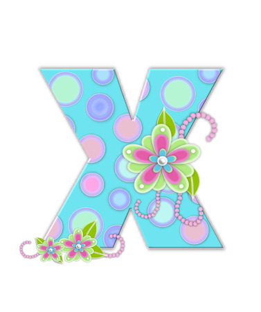 softly: The letter X, in the alphabet set Softly Spotted, is soft aqua.  Letter is decorated with pastel circles, flowers and beads. Stock Photo