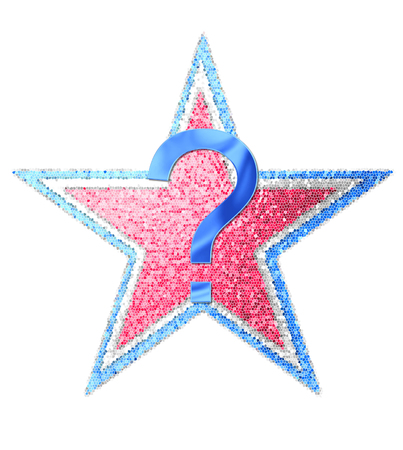 independance day: Question mark, in the alphabet set Red White and Blue is blue metallic.  Letter sits on three mosaic stars of red, white and blue. Stock Photo