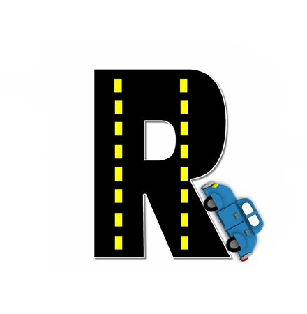r transportation: The letter R, in the alphabet set Transportation by Road, is black with yellow dividing line representing a black top road.  Colorful, motorized vehicle navigates outside of letter.
