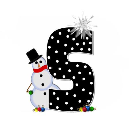 icy: The letter S, in the alphabet set Frosty, is black and decorated with a snowman and Christmas ornaments.  Snowman is wearing a red scarf and alphabet letter is topped with a glowing white star. Stock Photo
