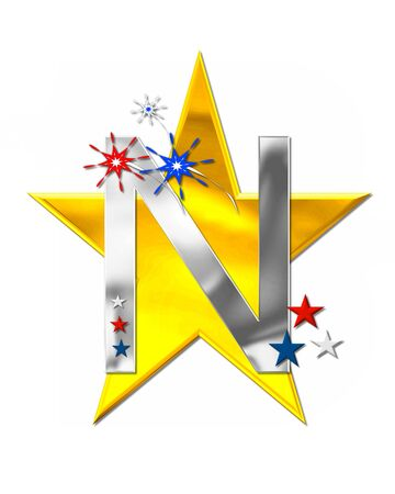 The letter N, in the alphabet set Patriotism is silver metalic.  Fireworks and stars decorate letter with red, white and blue.  Golden star serves as background.