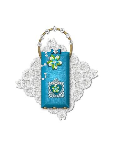 The letter I, in the alphabet set Bling Bag, depicts aqua letter as a blinged out purse with gold handle.  Letter has lace, diamonds and flowers.  Background framing letter is a lace handkerchief.