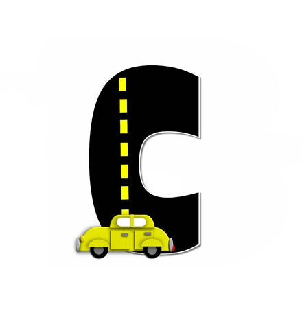 motorized: The letter C, in the alphabet set Transportation by Road, is black with yellow dividing line representing a black top road.  Colorful, motorized vehicle navigates outside of letter.