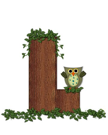 The letter L, in the alphabet set Deep Woods Owl is filled with wod texture and has vines growing all over it.  Owl sits on log-style letter. Stock Photo