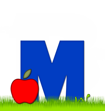 eaten: The letter M, in the alphabet set Apple a Day Eaten Away, is blue.  Letter is sitting on green grass.  A green worm crawls around letter.