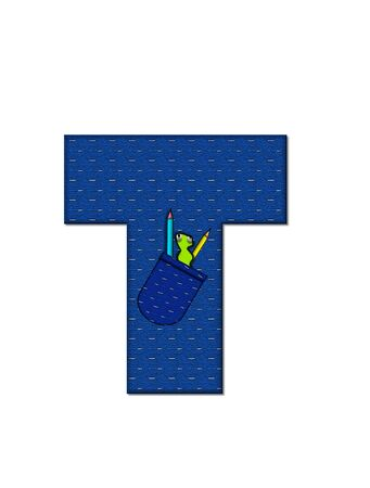 tilted: The letter T, in the alphabet set School Days, in dressed in denim material with tilted pocket filled with pencils or crayons.  An apple with a worm sometimes decorates base of letters. Stock Photo
