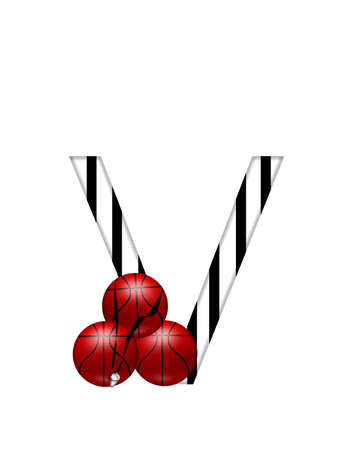 The letter V,in the alphabet set Referee, is black and white striped.  A whistle, on a black ribbon, and basketballs decorate each letter.