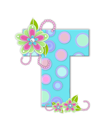 The letter T, in the alphabet set Softly Spotted, is soft aqua.  Letter is decorated with pastel circles, flowers and beads.