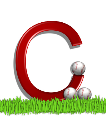 The letter C, in the alphabet set Baseball, is red.  Three baseballs decorate 3D letter.  All sit in a field of green grass.
