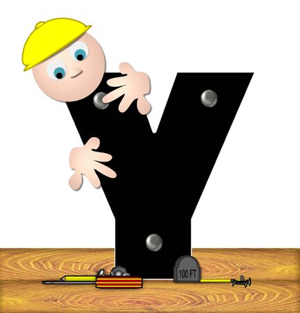 inspecting: The letter Y, in the alphabet set Construction Worker, is black with silver nails embedded in letter.  Construction worker bends over inspecting letter.  Tools sit beside letter on wooden planks.