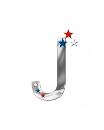 metalic: The letter J, in the alphabet set Plain Patriotism is silver metalic.  Three stars decorate letter with red, white and blue.  Letters coordinate with Alphabet Patriotism.