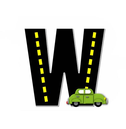 motorized: The letter W, in the alphabet set Transportation by Road, is black with yellow dividing line representing a black top road.  Colorful, motorized vehicle navigates outside of letter. Stock Photo
