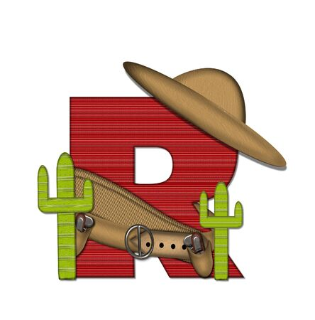 types of cactus: The letter R, in the alphabet set Bandido, is a red lined, tight woven pattern.  Letter is wearing a gun belt and blanket with a somberro on top.  Two cacti sit at each side.