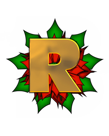 scrap gold: The letter R, in the alphabet set Christmas Poinsettia is shiny gold metallic.  Letter sits on a large red, poinsettia. Stock Photo