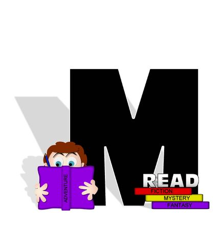 open type font: The letter M, in the alphabet set Absorbed in Reading, is black and decorated with books and people absorbed in reading.  Stark shadow hangs behind letter.  Books have genre printed on spine binding. Stock Photo