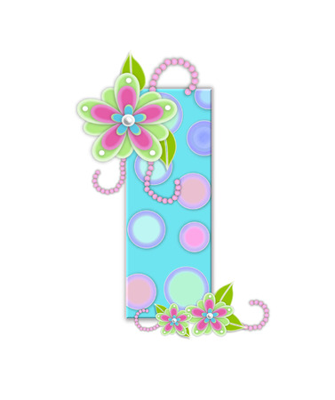 softly: The letter I, in the alphabet set Softly Spotted, is soft aqua.  Letter is decorated with pastel circles, flowers and beads. Stock Photo