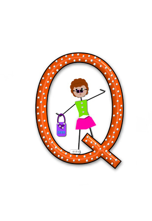 The letter Q, in the alphabet set Diva Doll, is polka dotted.  Girl dolls decorate letter dressed in skirt and carrying a purse and flower.