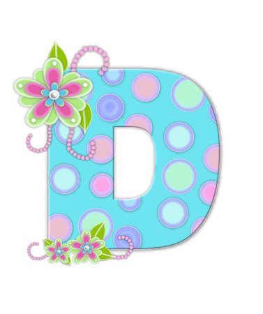 softly: The letter D, in the alphabet set Softly Spotted, is soft aqua.  Letter is decorated with pastel circles, flowers and beads. Stock Photo