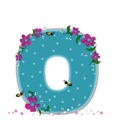 buzzing: The letter O, in the alphabet set Garden Buzz, is aqua.  Each letter is decorated with soft polka dots, flowers and buzzing bees.  Base of letter is covered in pink and white confetti.