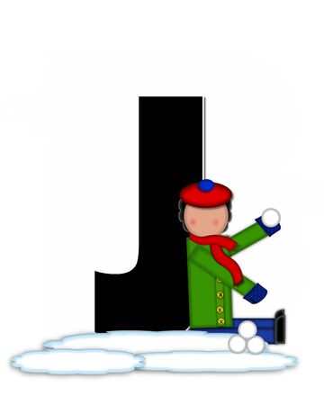 snow cap: The letter J, in the alphabet set Children Snow Fight, is black and outlined with white.  Children, dressed in cap, scarf and mittens, hold snowball ready for a fight. Stock Photo