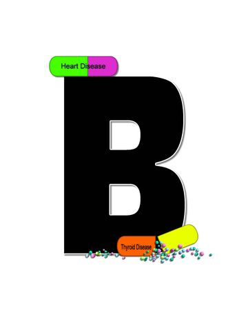 The letter B, in the alphabet set Wellness Check, is black and outlined with white.  RX capsules decorate letter with health diseases on each capsule. 版權商用圖片