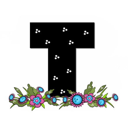 The letter T, in the alphabet set Country Lane Two is pink with black outline.  Letter sits on arrangement of country flowers in pink and blue.
