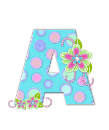 softly: The letter A, in the alphabet set Softly Spotted, is soft aqua.  Letter is decorated with pastel circles, flowers and beads. Stock Photo