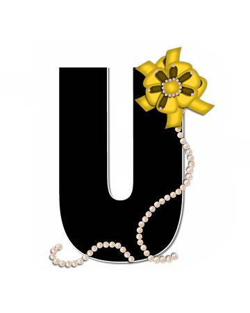 The letter U, in the alphabet set Ribbon Trimmed, is black, outlined with white.  Letter is decorated with colorful bow trimmed with pearls.  Strands of pearls fall from bow and lay at bottom of letter.