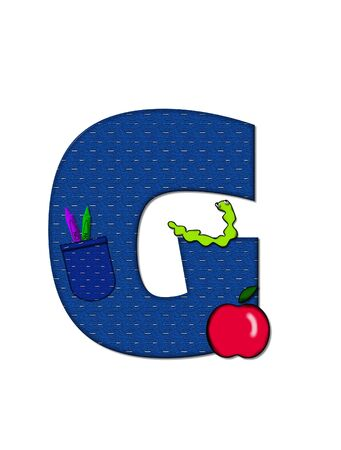 The letter G, in the alphabet set School Days, in dressed in denim material with tilted pocket filled with pencils or crayons.  An apple with a worm sometimes decorates base of letters. Stock Photo