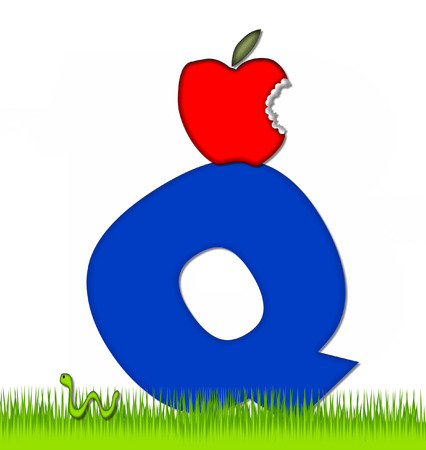 eaten: The letter Q, in the alphabet set Apple a Day Eaten Away, is blue.  Letter is sitting on green grass.  A green worm crawls around letter.