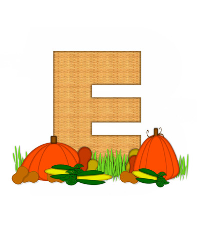 bounty: The letter E, in the alphabet set Blessed Bounty, is filled with wicker texture.  Letter sits in grassy field surrounded by Fall vegetables.