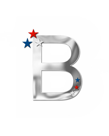 The letter B, in the alphabet set Plain Patriotism is silver metalic.  Three stars decorate letter with red, white and blue.  Letters coordinate with Alphabet Patriotism.