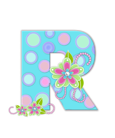 softly: The letter R, in the alphabet set Softly Spotted, is soft aqua.  Letter is decorated with pastel circles, flowers and beads.