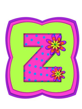daisy pink: The letter Z, in the alphabet set Daisy Daze, is colored in vivid pink with teal polka dots.  It is decorated with four layered daisies.  All sit on a pillow of neon green, hot pink and purple. Stock Photo