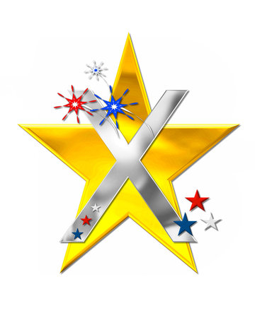 independance day: The letter X, in the alphabet set Patriotism is silver metallic.  Fireworks and stars decorate letter with red, white and blue.  Golden star serves as background.