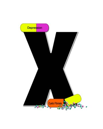 The letter X, in the alphabet set Wellness Check, is black and outlined with white.  RX capsules decorate letter with health diseases on each capsule.