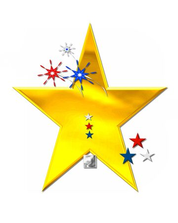 Period, in the alphabet set Patriotism is silver metalic.  Fireworks and stars decorate letter with red, white and blue.  Golden star serves as background. Stock Photo