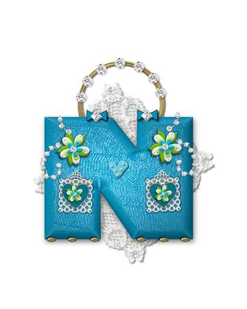 The letter N, in the alphabet set Bling Bag, depicts aqua letter as a blinged out purse with gold handle.  Letter has lace, diamonds and flowers.  Background framing letter is a lace handkerchief.