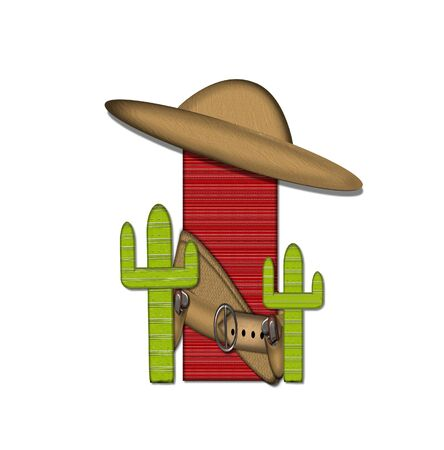 theif: The letter I, in the alphabet set Bandido, is a red lined, tight woven pattern.  Letter is wearing a gun belt and blanket with a somberro on top.  Two cacti sit at each side. Stock Photo