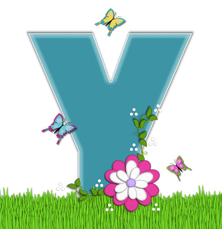 flower vines: The letter Y, in the alphabet set Happy Springtime, is turquoise.  Letter is sitting on bright green grass and is decorated with flower and vines.  Butterflies flutter around letter.