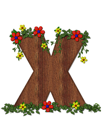 alphabet tree: The letter X, in the alphabet set Woodsy Owl is filled with wood texture.  3D flowers hand on vines surrounding letter. Stock Photo