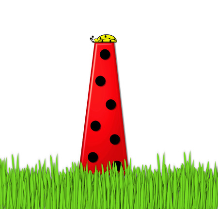 lady bug: The red letter I, in the alphabet set Lady Bug Red, has large black polka dots and is decorated with 3D ladybugs.  Letter is nestled in tall, garden grass.