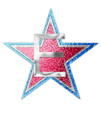 The letter E, in the alphabet set All Star is silver metalic.  Three stars of red, white and blue form background.