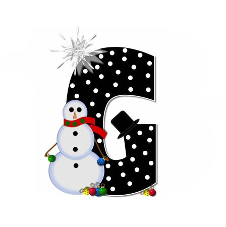 The letter G, in the alphabet set Frosty, is black and decorated with a snowman and Christmas ornaments.  Snowman is wearing a red scarf and alphabet letter is topped with a glowing white star. Stock Photo