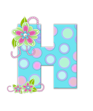 softly: The letter H, in the alphabet set Softly Spotted, is soft aqua.  Letter is decorated with pastel circles, flowers and beads.