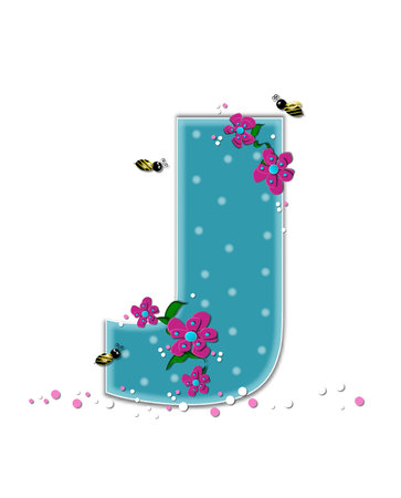 buzzing: The letter J, in the alphabet set Garden Buzz, is aqua.  Each letter is decorated with soft polka dots, flowers and buzzing bees.  Base of letter is covered in pink and white confetti.