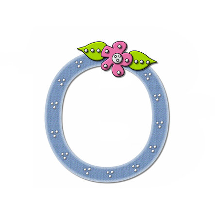 The letter O, in the alphabet set Denim and Flowers is filled with denim fabric.  Edges are soft white and letter is decorated with dots and a large flower.